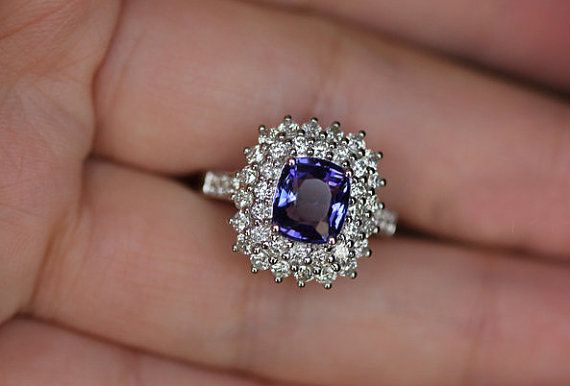 3 Carat Tanzanite Engagement Ring Diamonds 14K by SteveleeJewelry, $2495.00