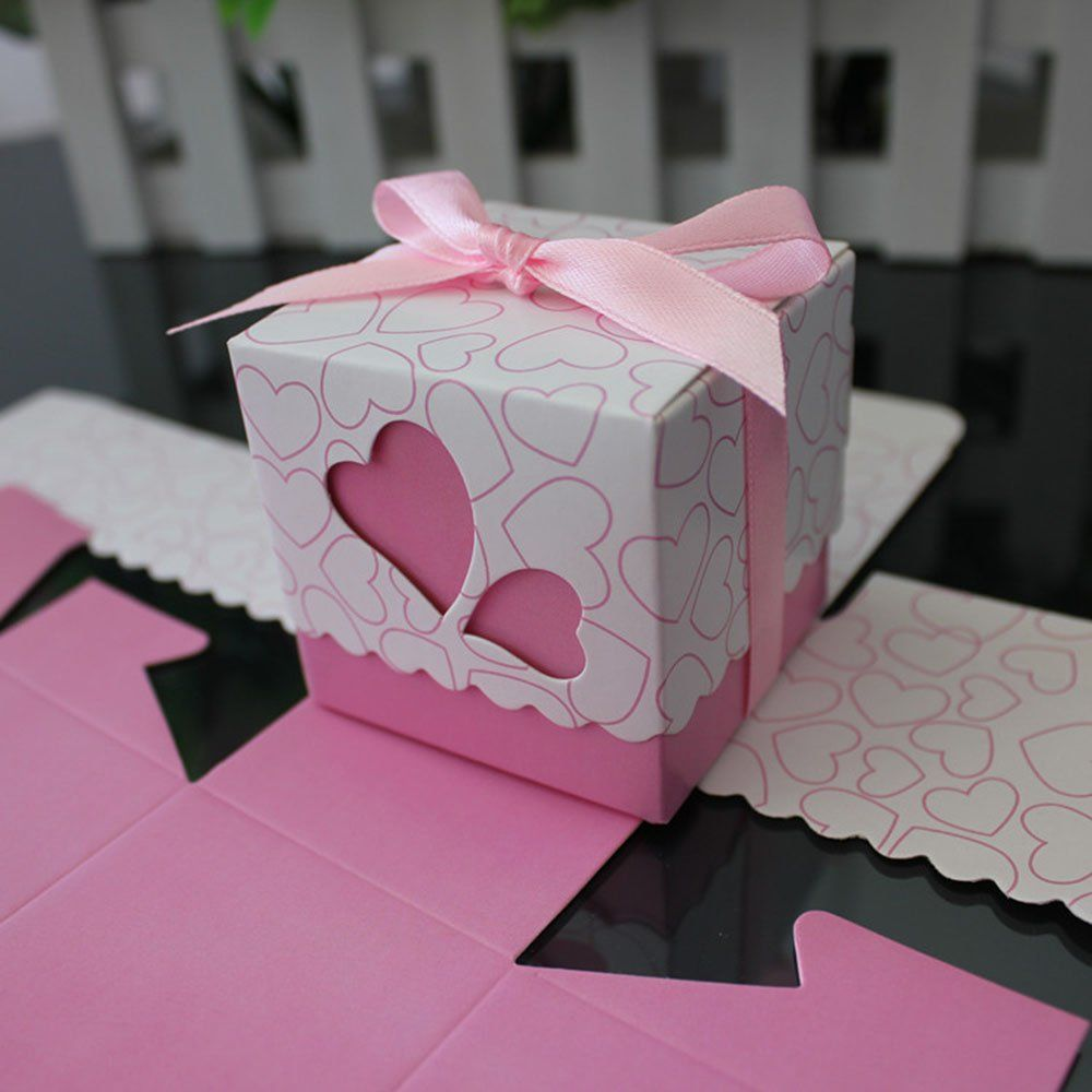 Pink heart wedding favor boxes with satin bow -- www.PianoJenny.com ...