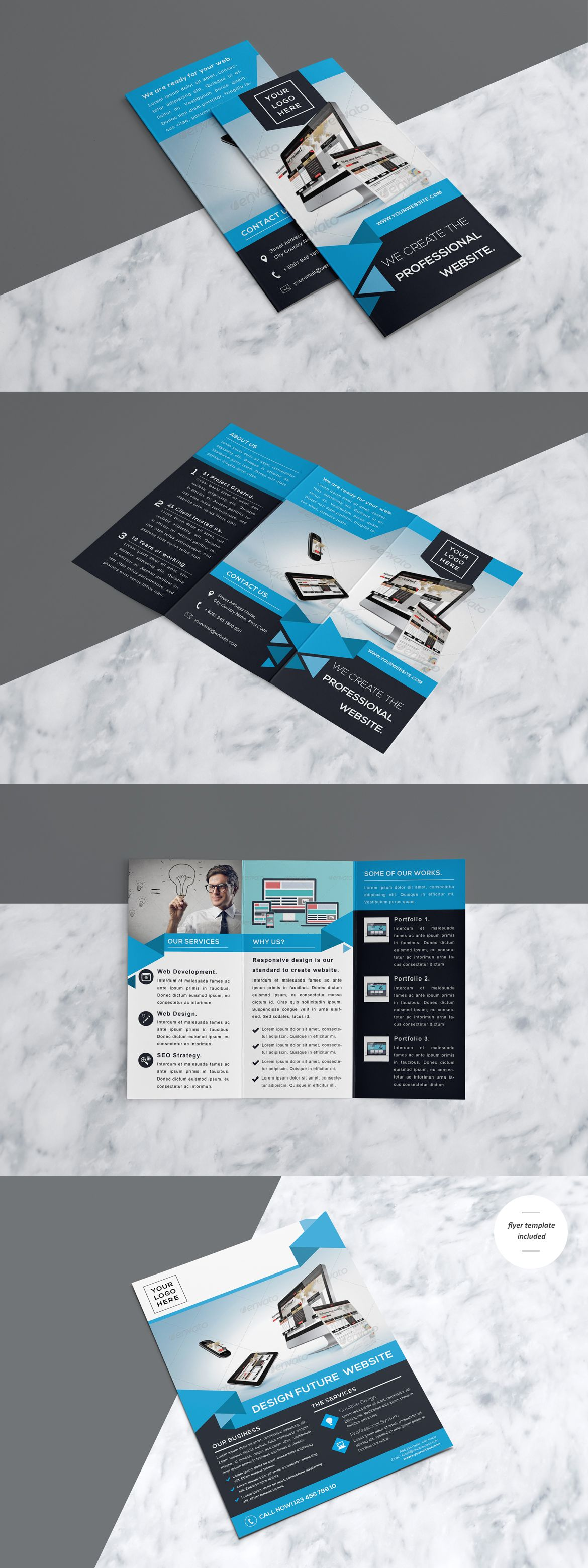 Professional & Modern Website Design Trifold Brochure Which Include ...