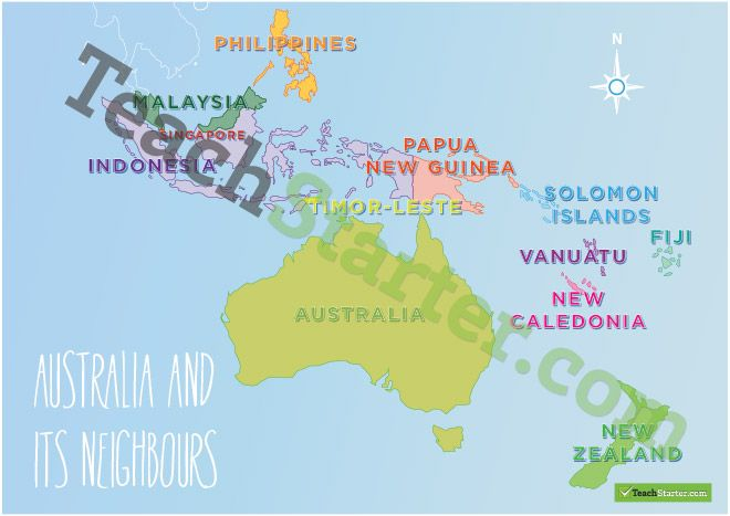 Map Of Australia Labelled.Australia And Its Neighbours Labelled Colour Australian