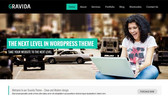 SKT WordPress theme Gravida for stylish business and corporate ...