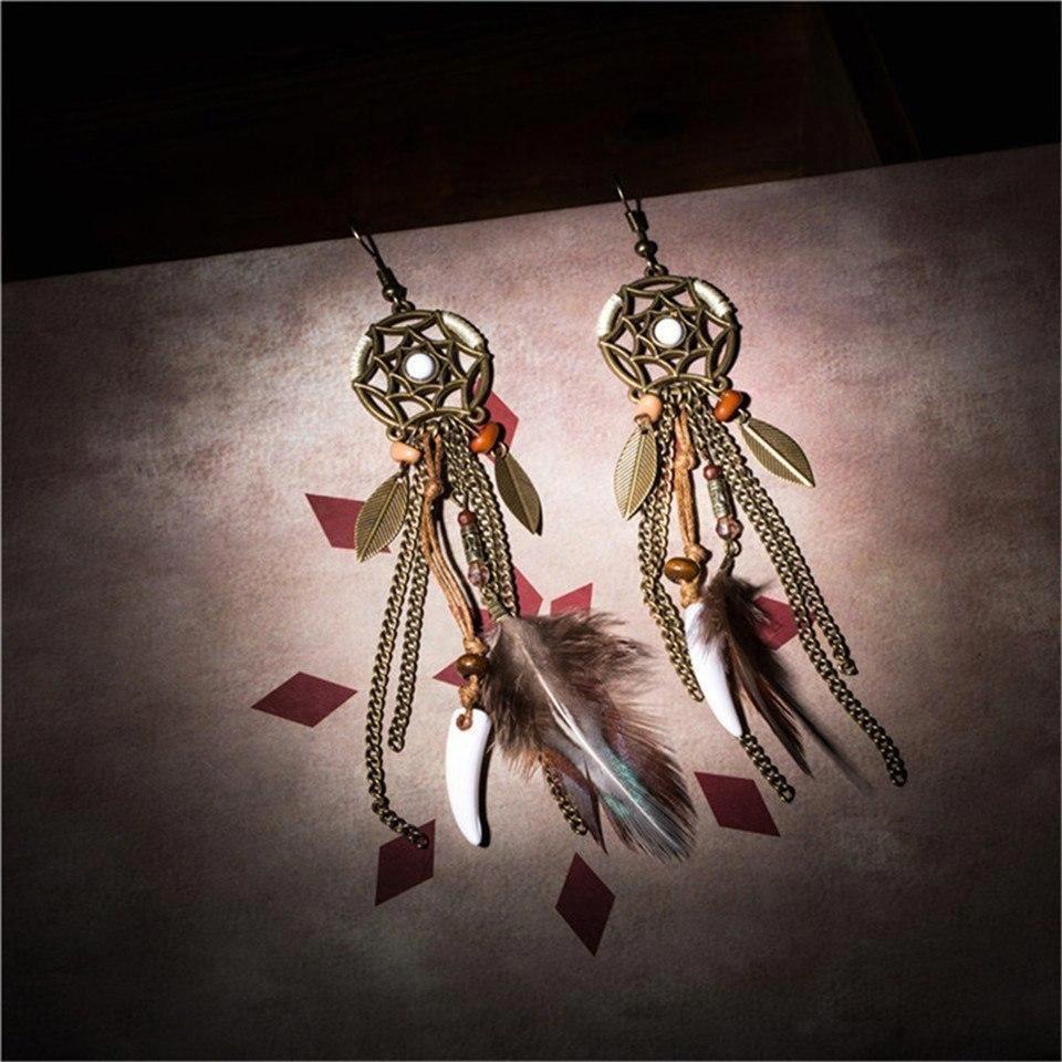 Boho long tassel earrings for women Bohemian beads fringe earring jewelry Ethnic crystal natural shell resin feather drop earing #earringsforwomen