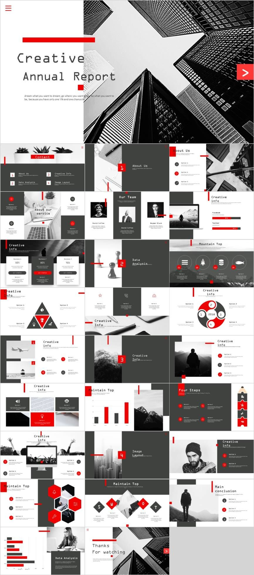 Red Black Creative Report Powerpoint Template Pcslide Com
