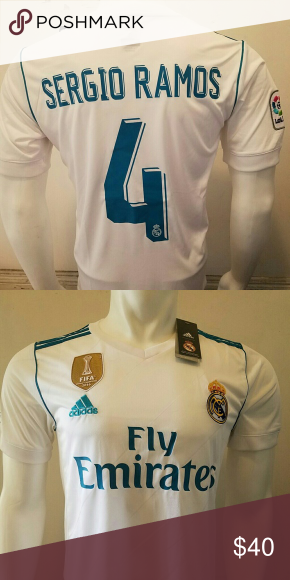 SERGIO RAMOS REAL MADRID HOME JERSEY 2017 18 SERGIO RAMOS REAL MADRID HOME  JERSEY 2017 18 ALL JERSEY ARE FITTED SO RUN SMALL unbranded Shirts Tees -  Short ... f8a06bd51