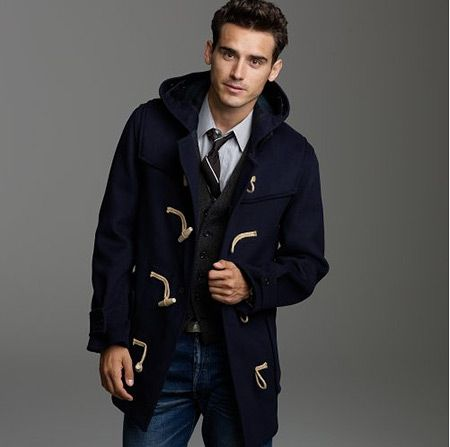 Men's Navy Duffle Coat, Charcoal Waistcoat, Grey Dress Shirt, Blue ...