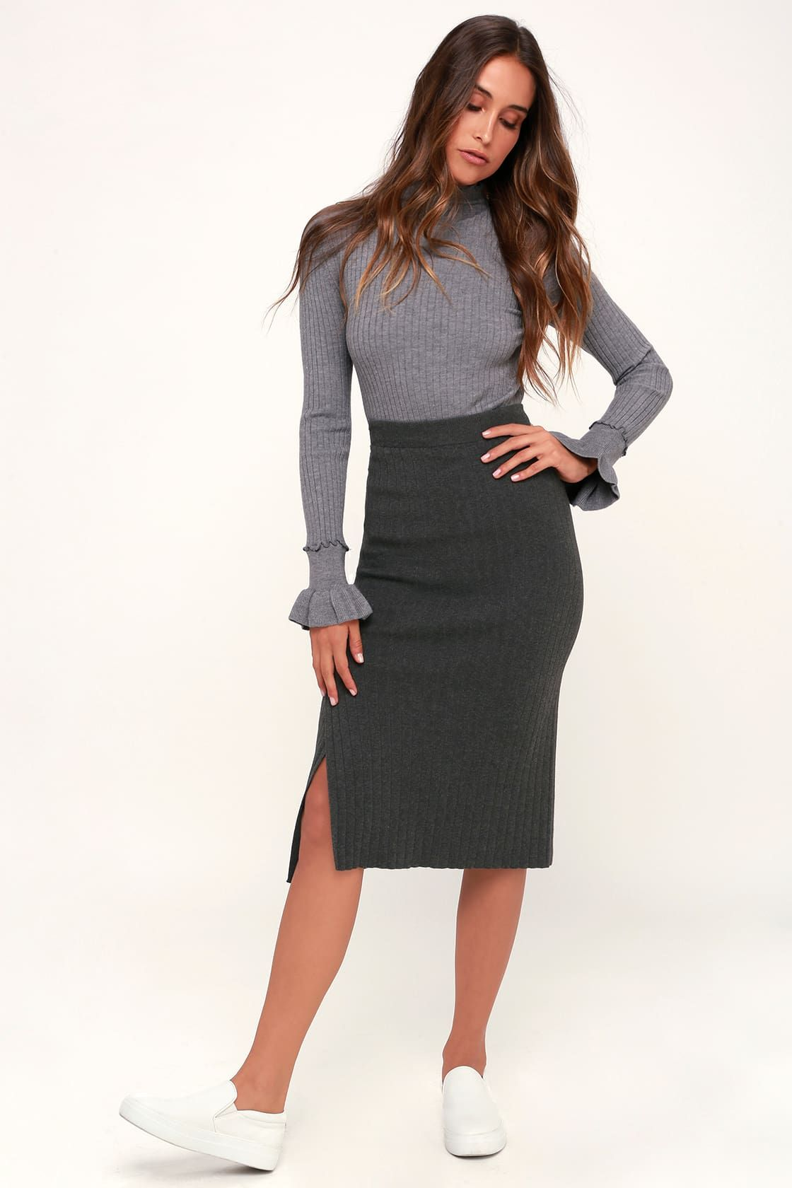 3b187a389ab Kellie Charcoal Grey Ribbed Sweater Pencil Skirt in 2019