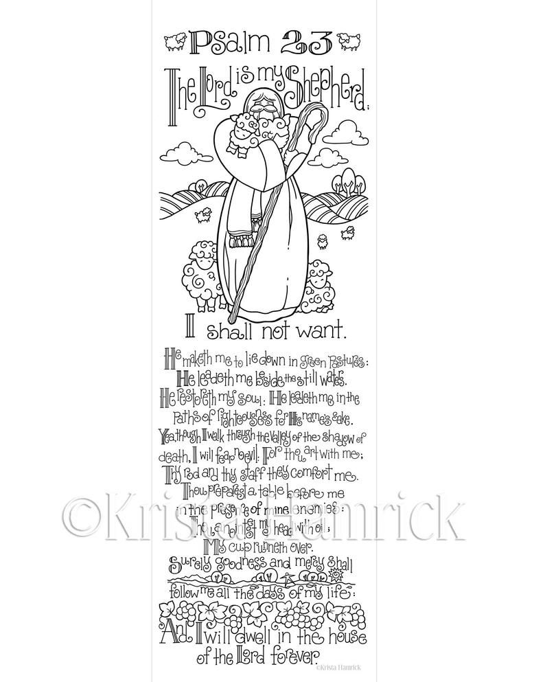 Psalm 23 Bookmarks 4 Per Page Etsy