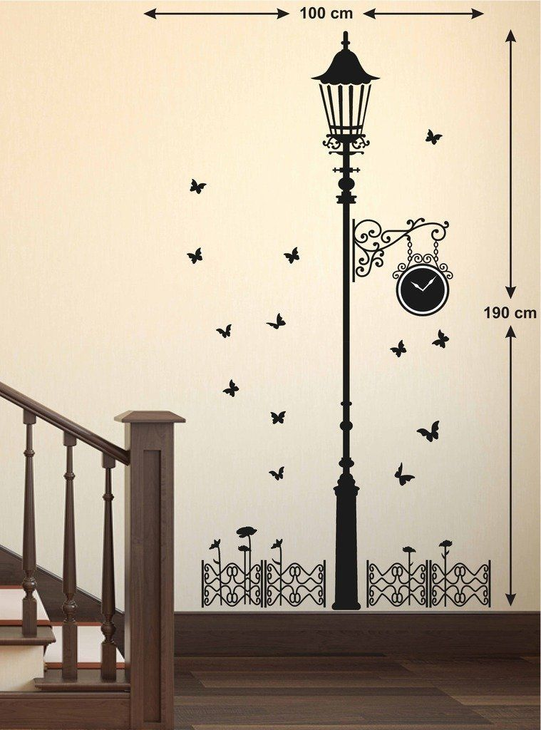 Decals Design Black Antique Street Lamp With Butterflies Wall Sticker Butterfly Wall Art Wall Paint Designs Creative Wall Painting