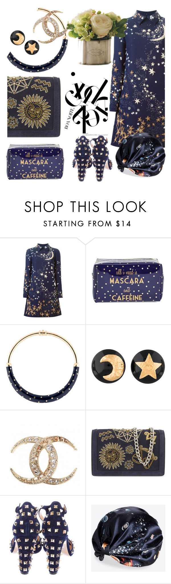 """At the stroke of midnight"" by pensivepeacock ❤ liked on Polyvore featuring Valentino, Tri-coastal Design, Aurélie Bidermann, Winward and Emilio Pucci"