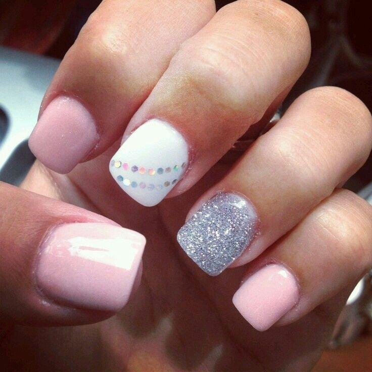 Pink White And Silver Acrylic Nails Shellac Nail Designs Nails Toe Nails