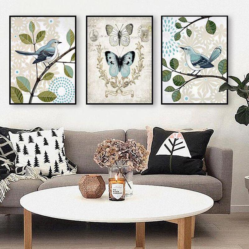 Vintage Butterfly Birds Art Canvas Prints Antique Decor Wall