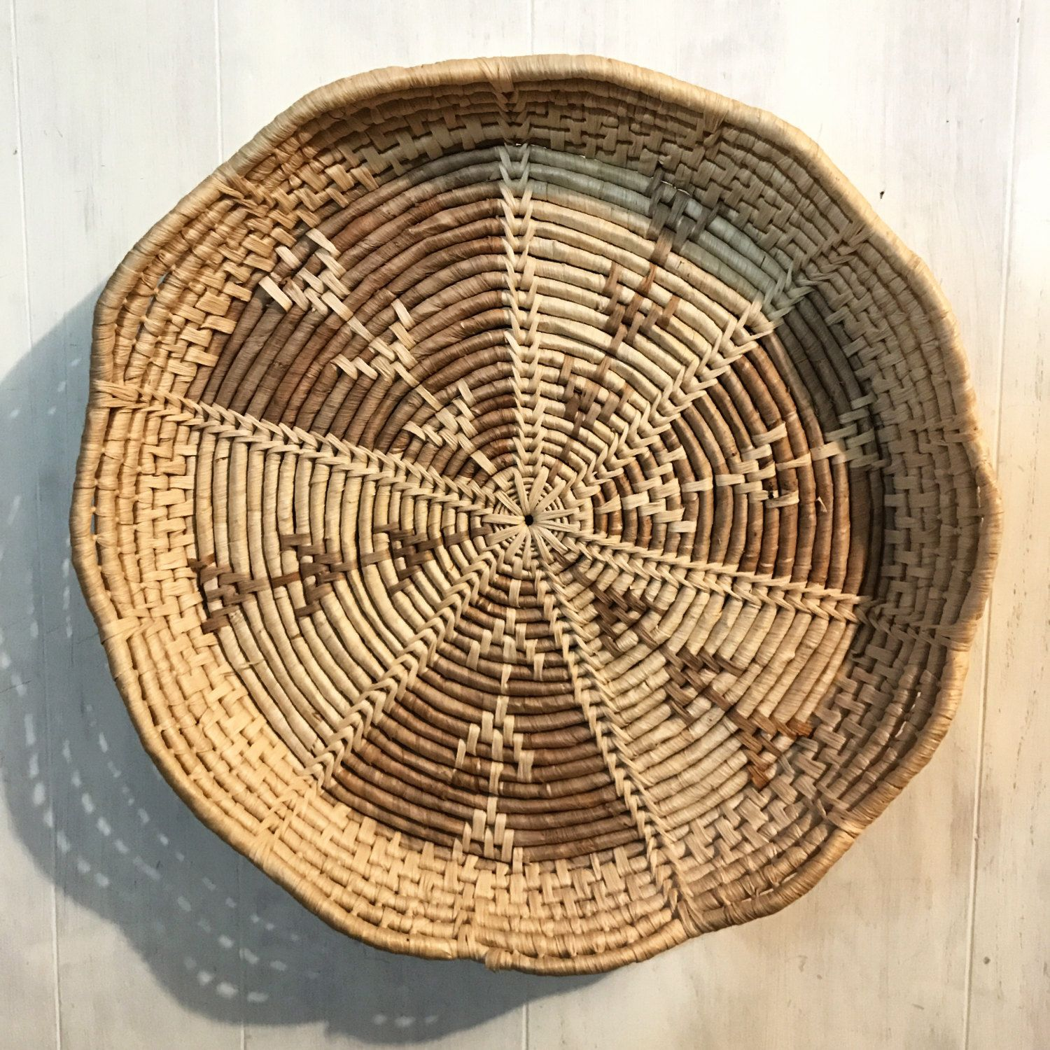 Large wall basket woven straw round basket tray boho wall large wall basket woven straw round basket tray boho wall decor by ninedoorsvintage on amipublicfo Choice Image