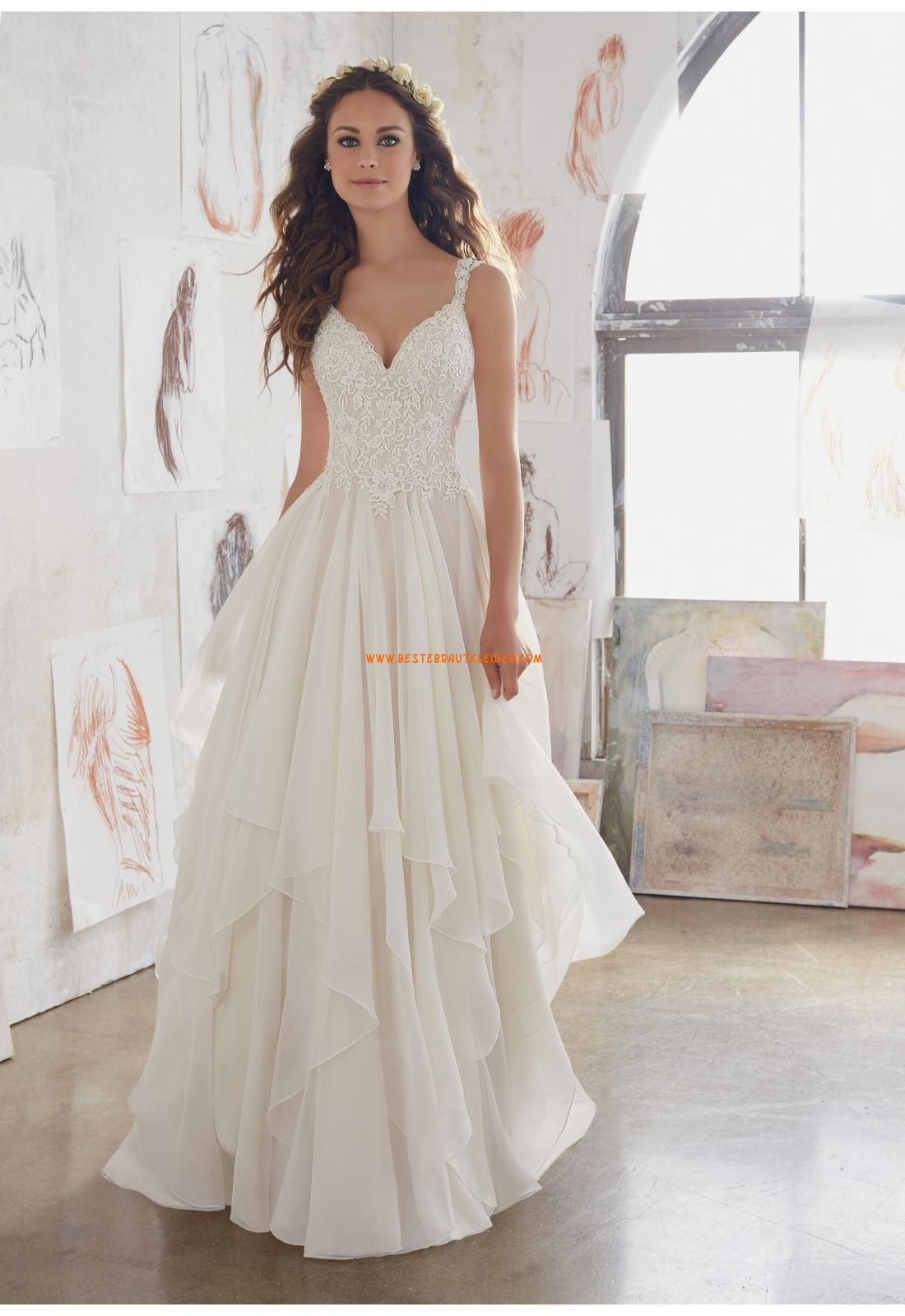 A-linie V-ausschnitt Schöne Brautkleider aus Chiffon mit Applikation ...