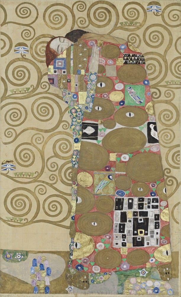 Werkzeichnung für die Ausführung für ein Mosaikfries für den Speisesaal des Palais Stoclet in Brüssel: Teil 8, Erfüllung by Gustav Klimt.  Courtesy of Österreichisches Museum für angewandte Kunst.