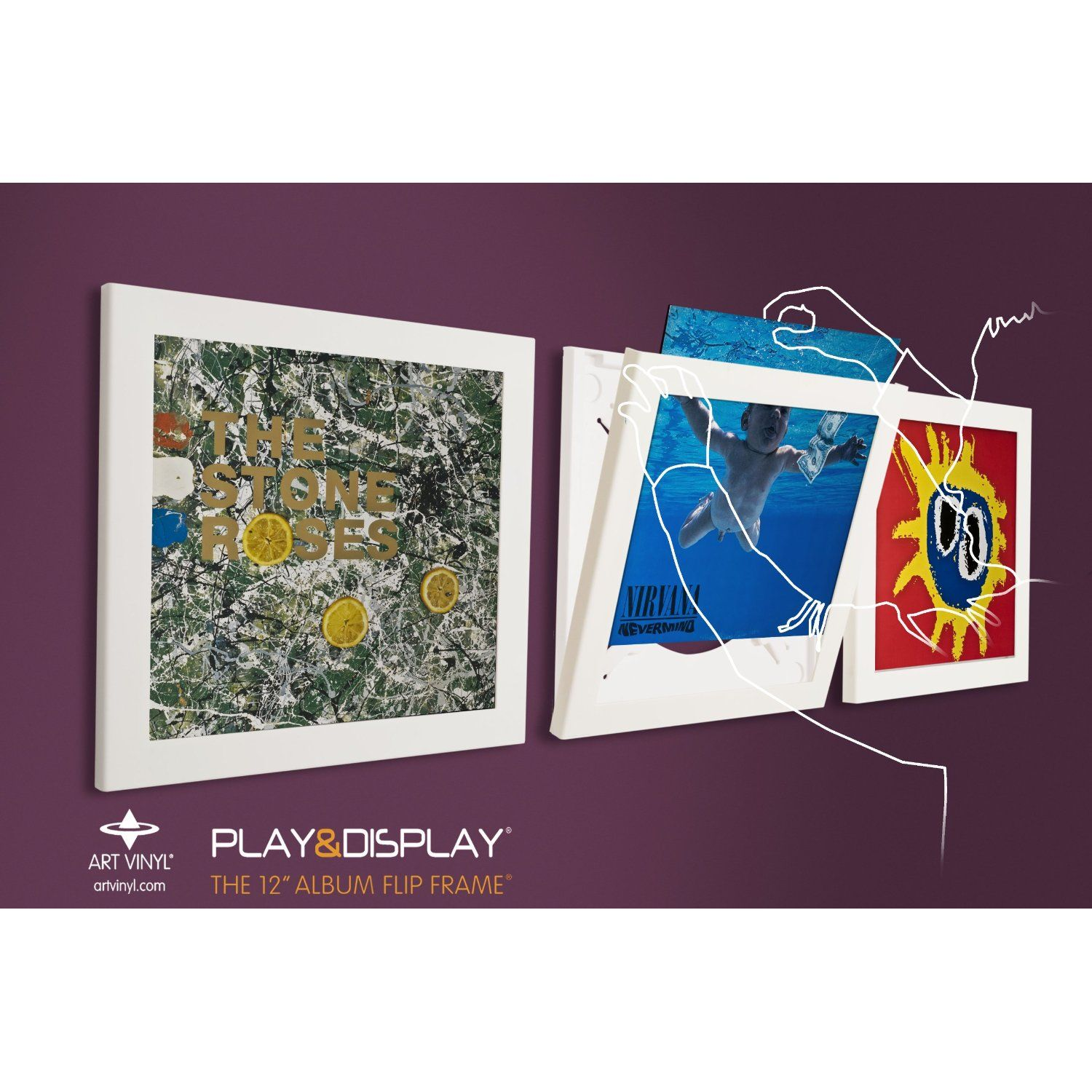 Art Vinyl Play and Display Record Frame Triple Pack (White) | The ...