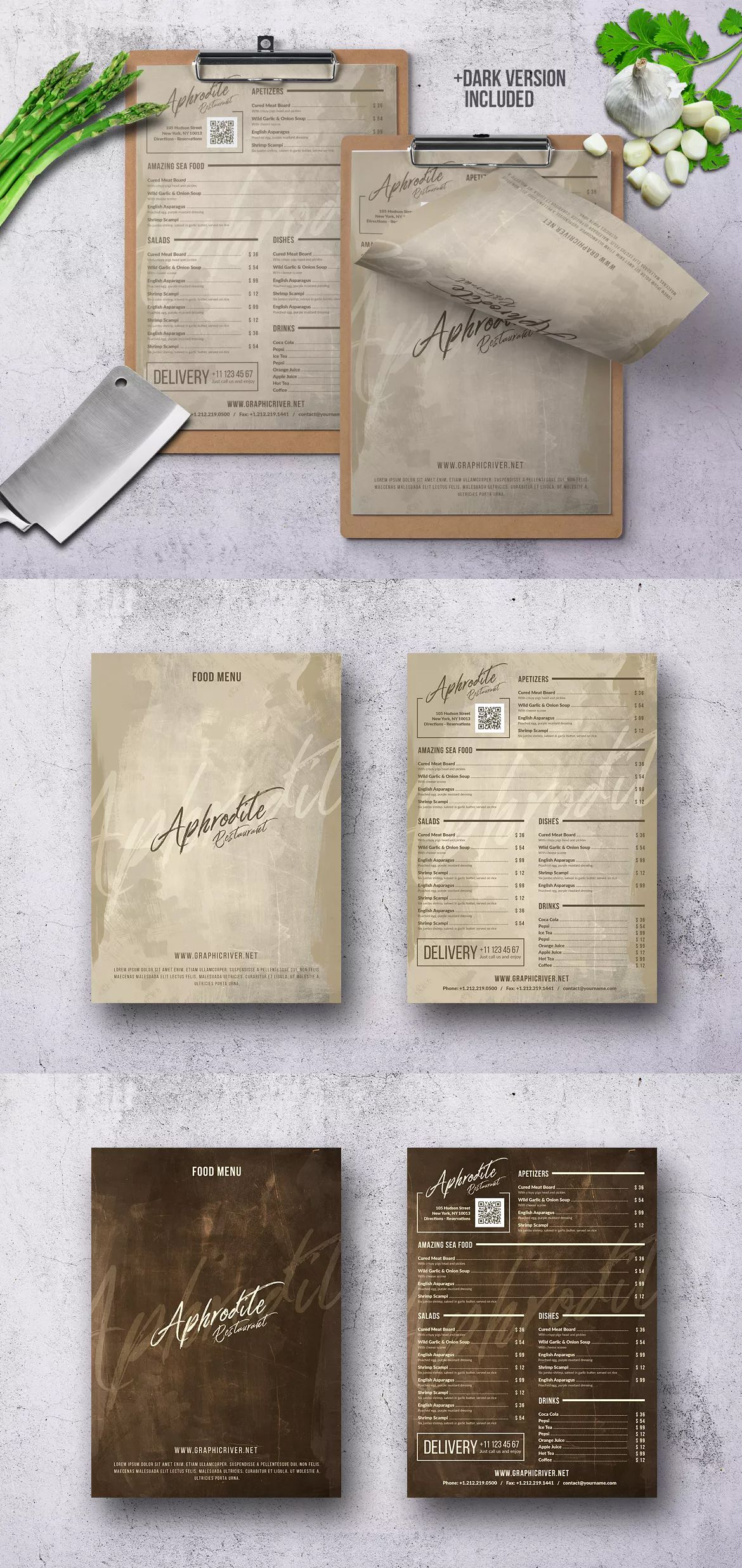 simple retro menu template psd 2 color a4 and us letter size