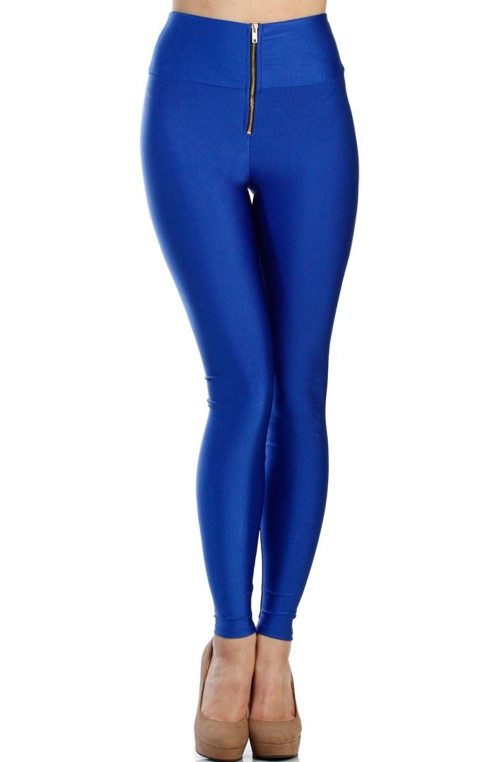 HIGH WAIST ZIPPER FRONT LEGGINGS - SHINY NYLON TRICOT - BLUE | Www ...