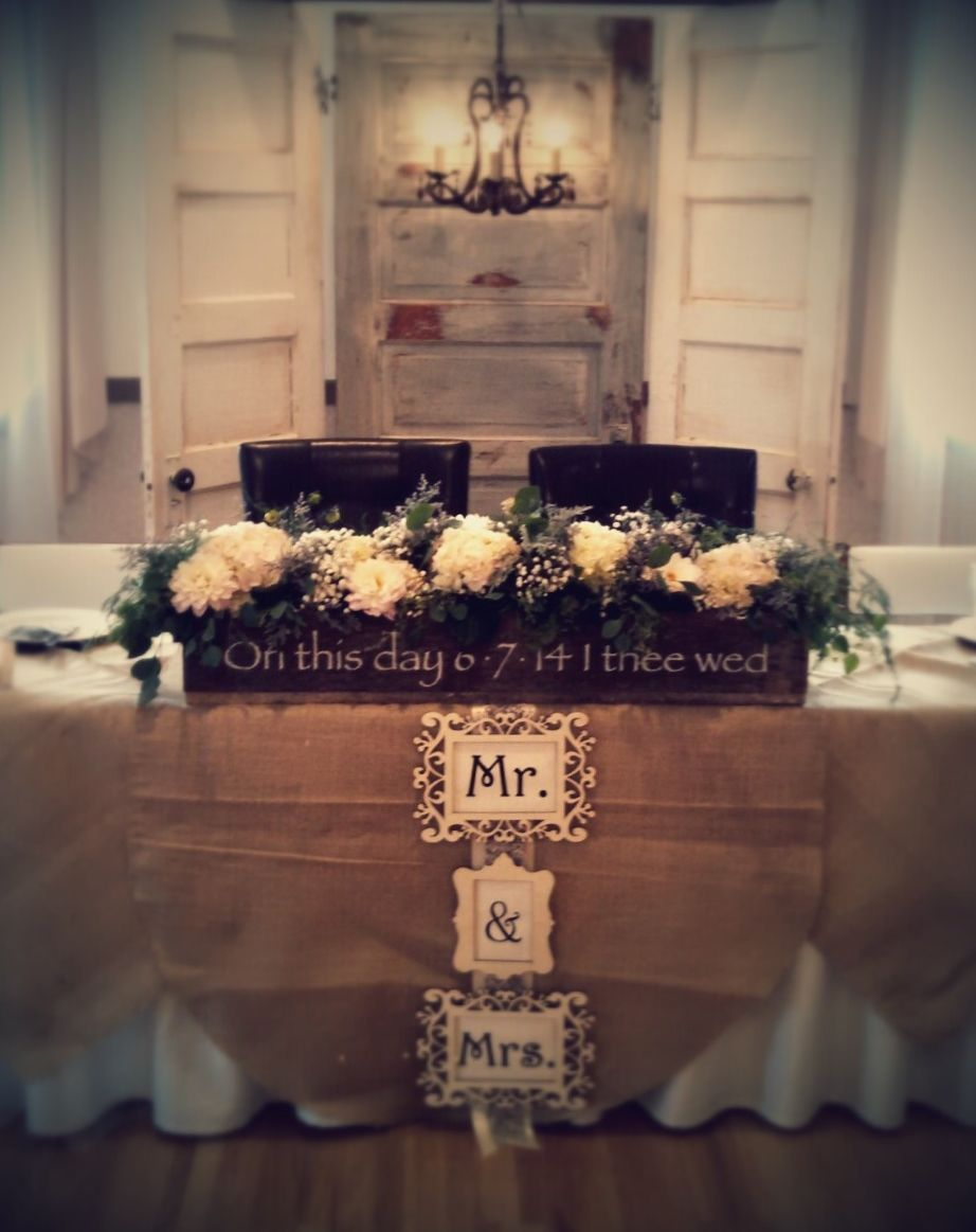 Head Table Backdrop Of Vintage Doors And Chandelier With Burlap Overlays Custom Made