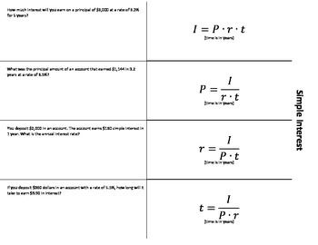 Simple Interest Foldable Simple Interest Math Notebooks Math Interactive Notebook