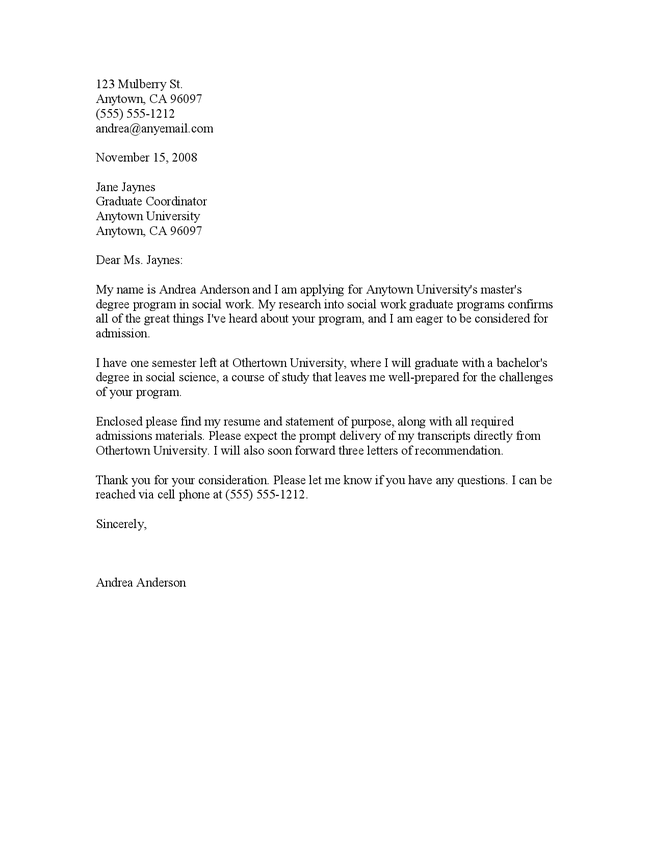 Graduate School Application Cover Letter Sample