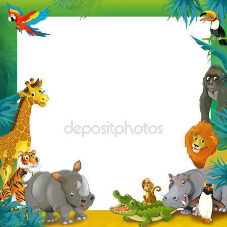 Dibujos Animados De Safari Marco Frontera Animal Coloring Pages Safari Animals Clip Art Borders