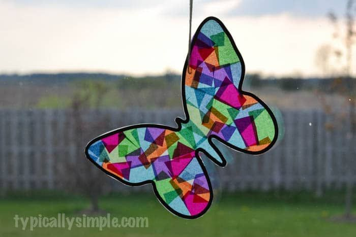 Stained Glass Butterfly Craft Elmer Pinterest Black