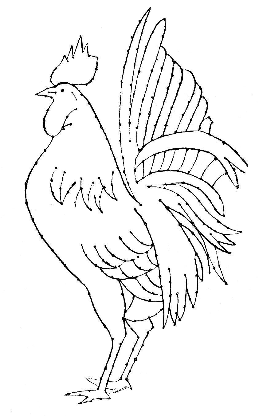 Embroidery Pattern - Rooster - Line Art | mis cosas favoritas ...