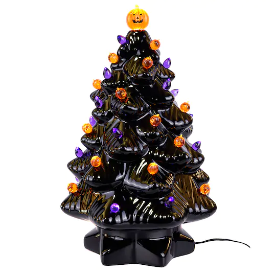 "Find the 14"" Black Ceramic Halloween Tree with Bulbs at"
