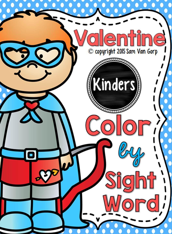 Valentine Color By Sight Word Kindergarten