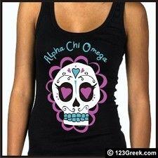 Alpha Chi Omega Candy Skull Tank Top