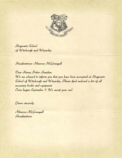 Image result for dear trick or treater harry potter acceptance