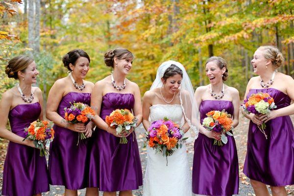 bride and bridesmaids, purple bridesmaids dresses, purple ...