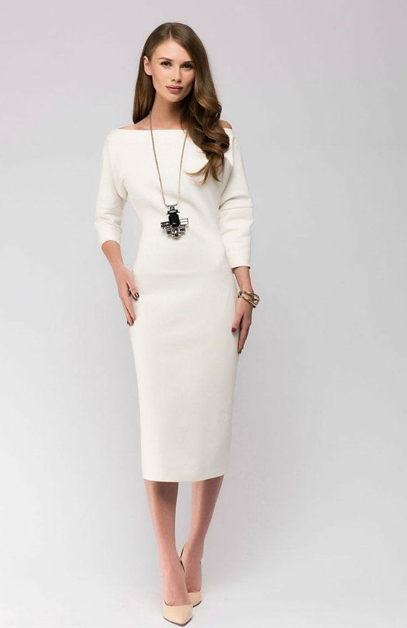 White jersey dress midi length summer