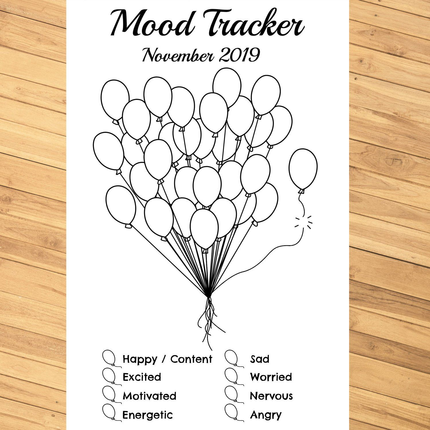Monthly Mood Tracker Balloons Editable Printable Pdf For Bullet