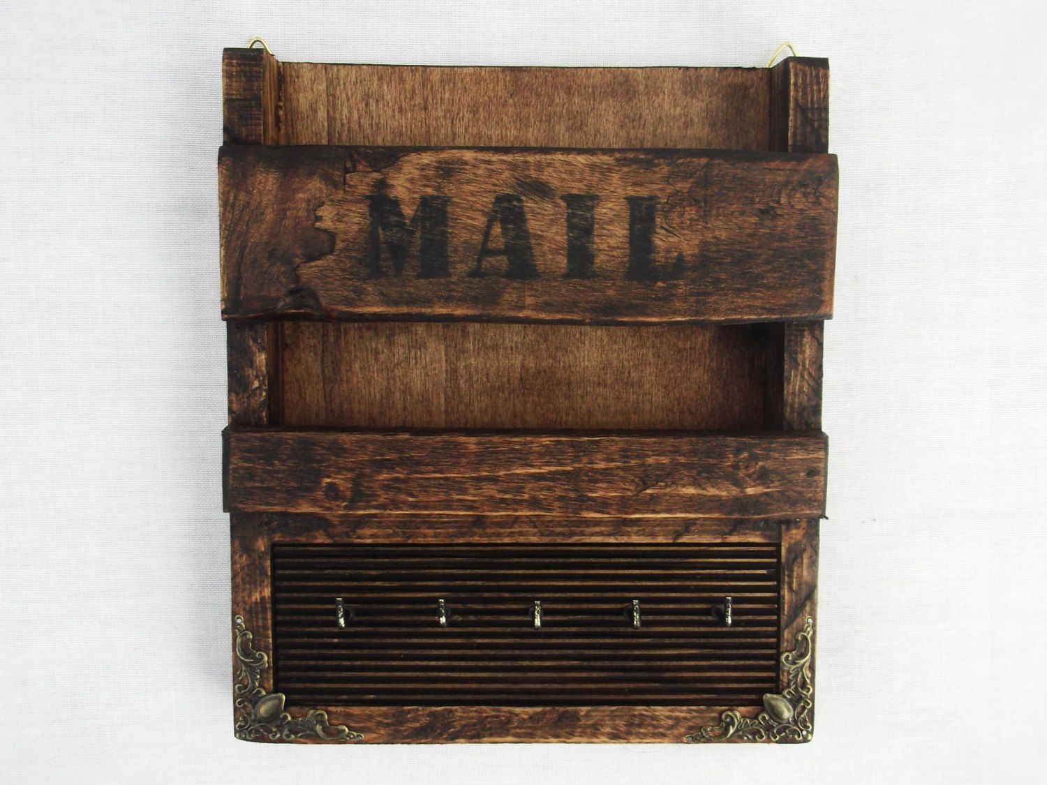 Rustic wooden wall hanging mail holder and key rack letter organizer hooks mail holder - Wooden letter and key holder ...