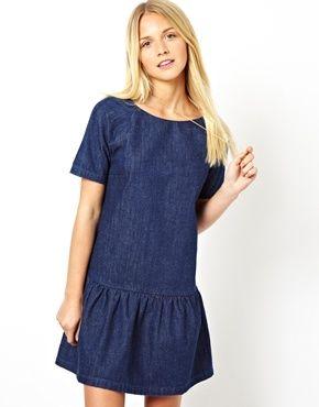 Image 1 of ASOS Premium Denim Dress with Drop Waist  c1df37ae3c7b