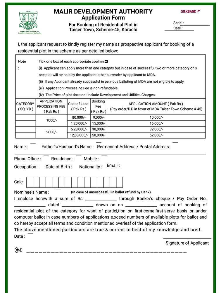 Here's how to get Taiser Town, Scheme-45 application forms | MISC