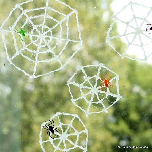 Glow in the Dark Spider Web Window Clings Halloween crafts - halloween window clings