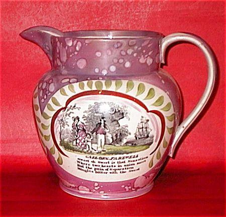 sunderland lustre   SUNDERLAND PINK LUSTRE JUG C 1840 (LUSTREWARE) at MERLIN ANTIQUES