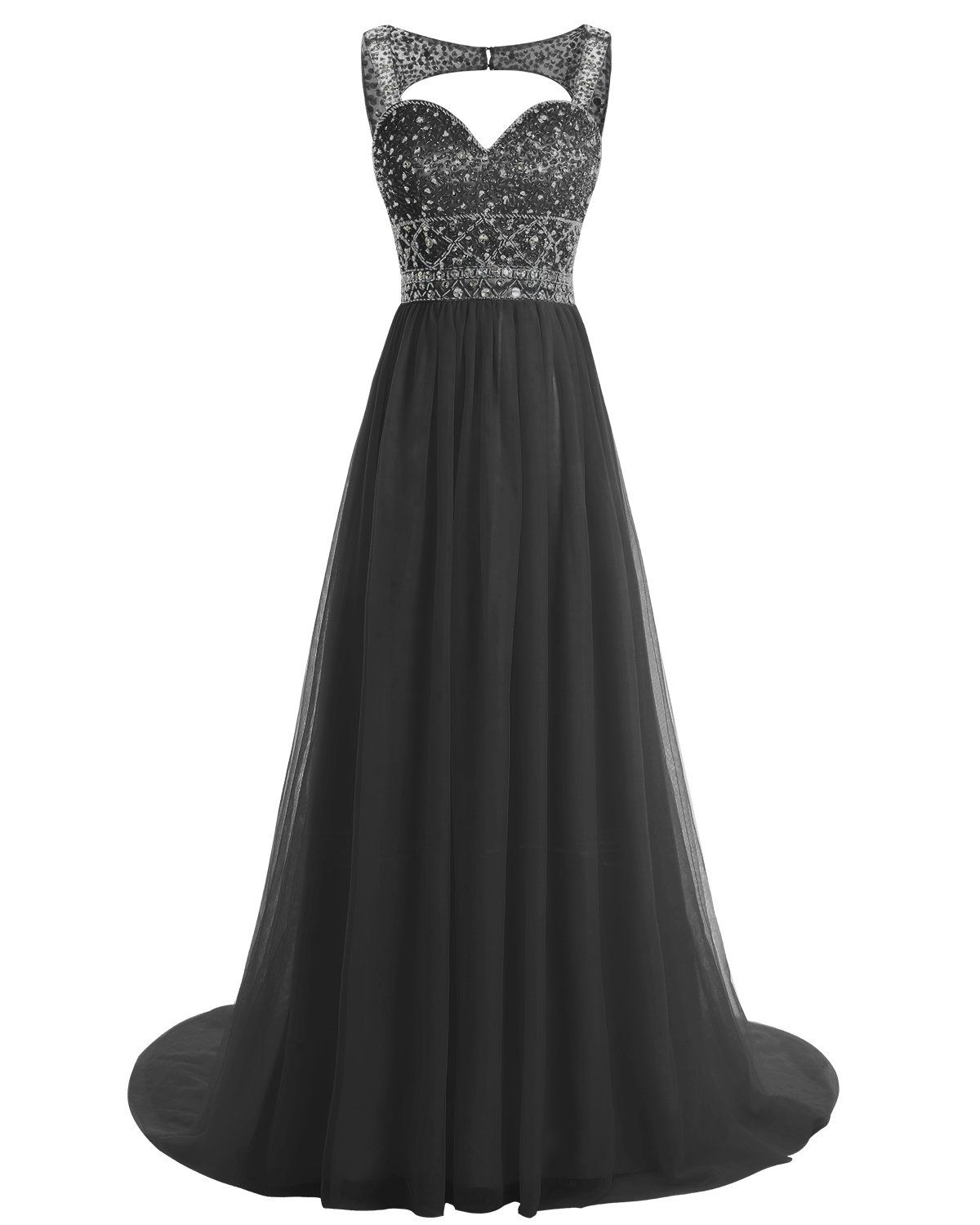 Bridesmay long tulle evening gown beaded prom dress formal party