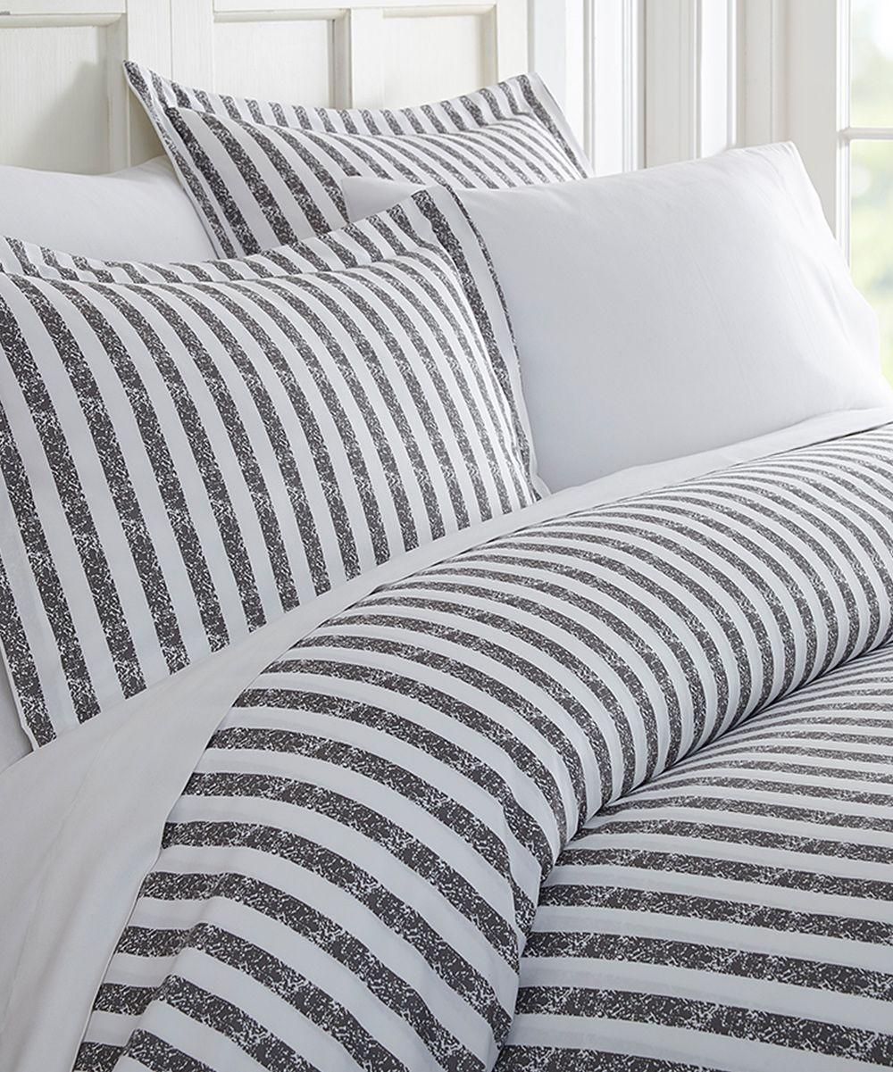Ienjoy Home Collection Gray Stripe Chevron Duvet Cover Set