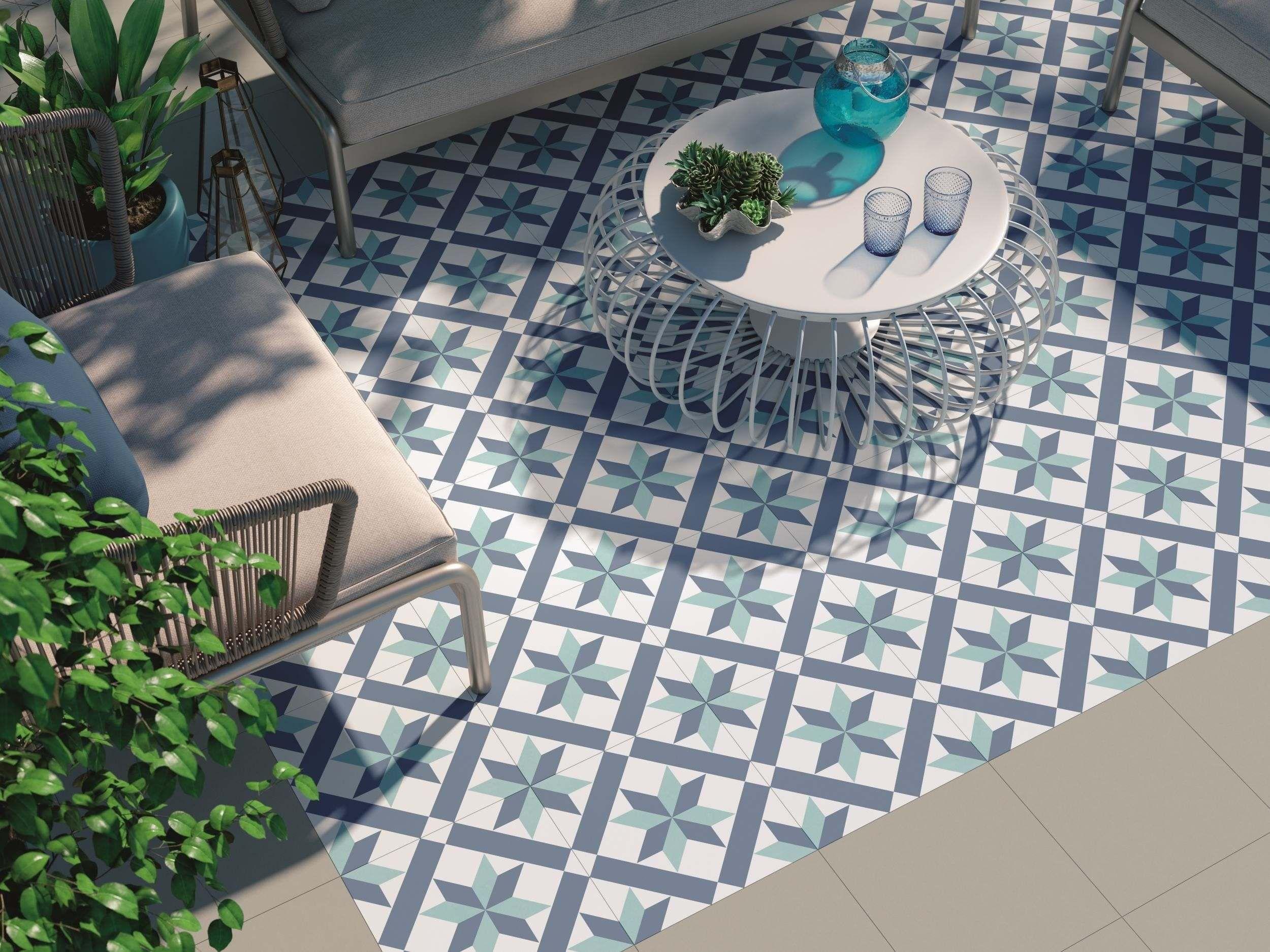 Hanoi Star Blue Floor Tiles Tile floor, Patio tiles
