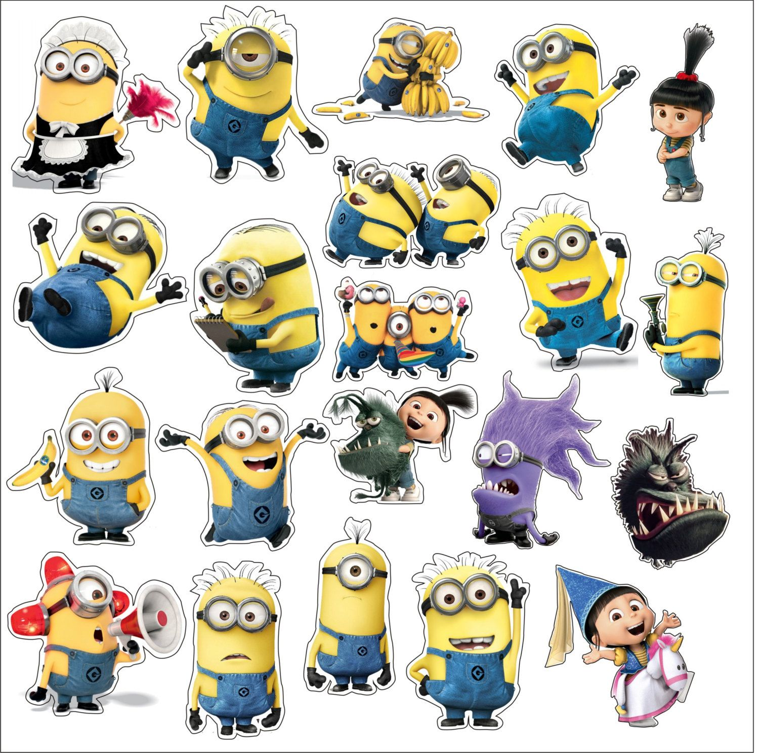 Set of Despicable ME Minion 21 Stickers Decal Colour Vinyl Car LapTop Baby Toy Children Party Home Boxes Glasses by SlavGraphics on Etsy