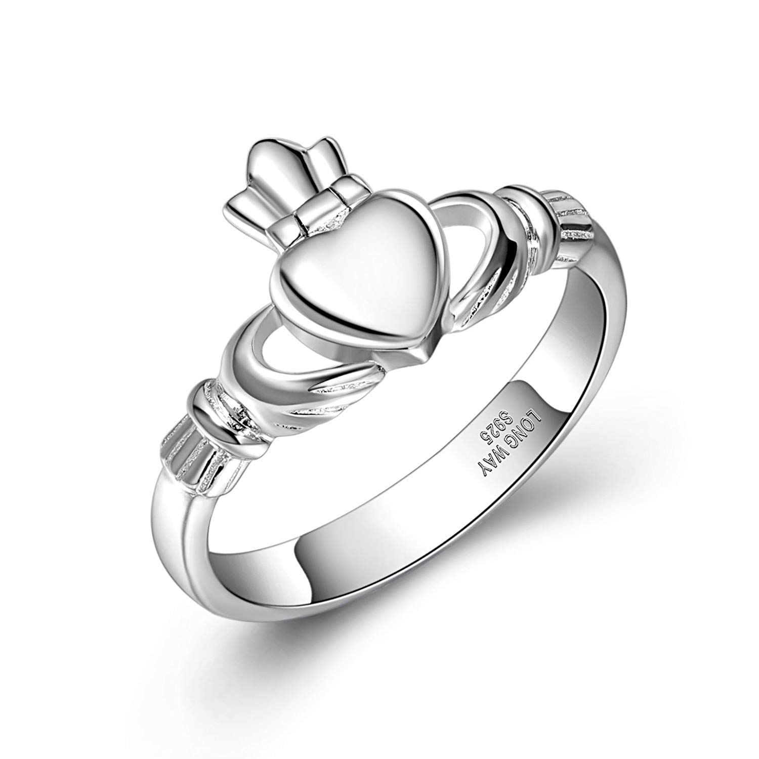 Claddagh Ring,Long Way S925 Sterling Silver Ireland Love