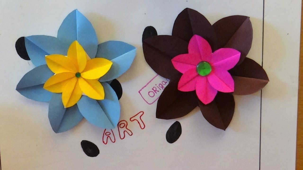 Origami Art How To Make A Simple Flower Art Guru Pinterest