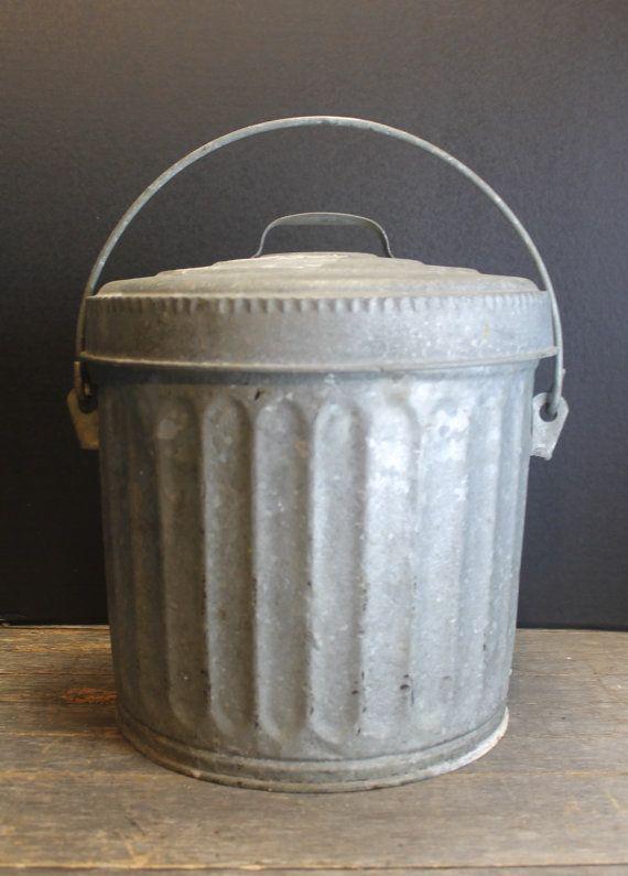 Vintage Small Galvanized Metal Wheeling Garbage Bin Storage Can Dog Food Bird Seed Storage Galvanized Metal Bird Seed Storage Galvanized Metal garbage cans with lids