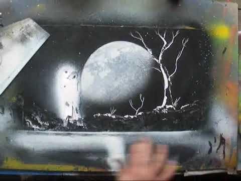 spray paint art moonlight spacepainting youtube art. Black Bedroom Furniture Sets. Home Design Ideas