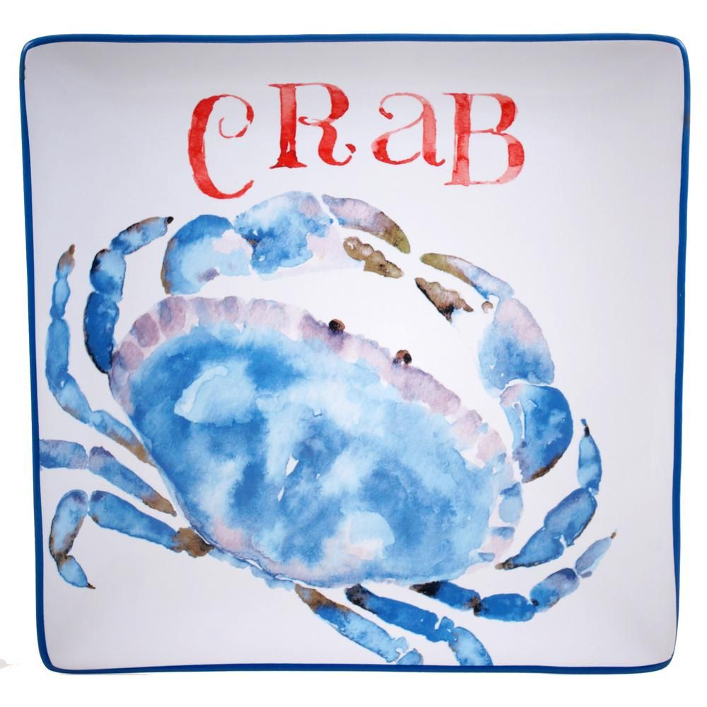 The Beach House Kitchen Collection Crab Square Platter