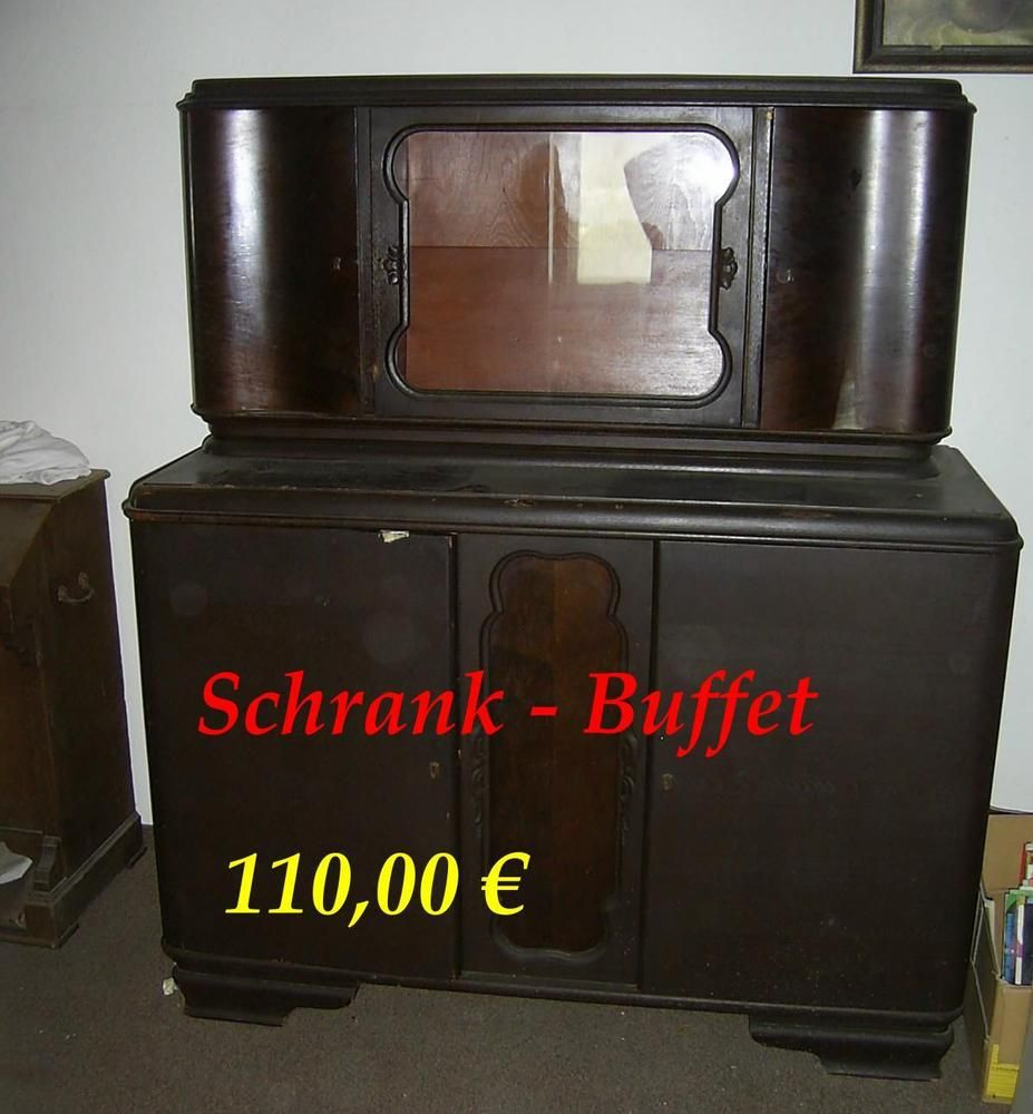 schrank buffet anrichte stubenbuffet buffetschrank holz dunkel glasaufsatz antike m bel. Black Bedroom Furniture Sets. Home Design Ideas