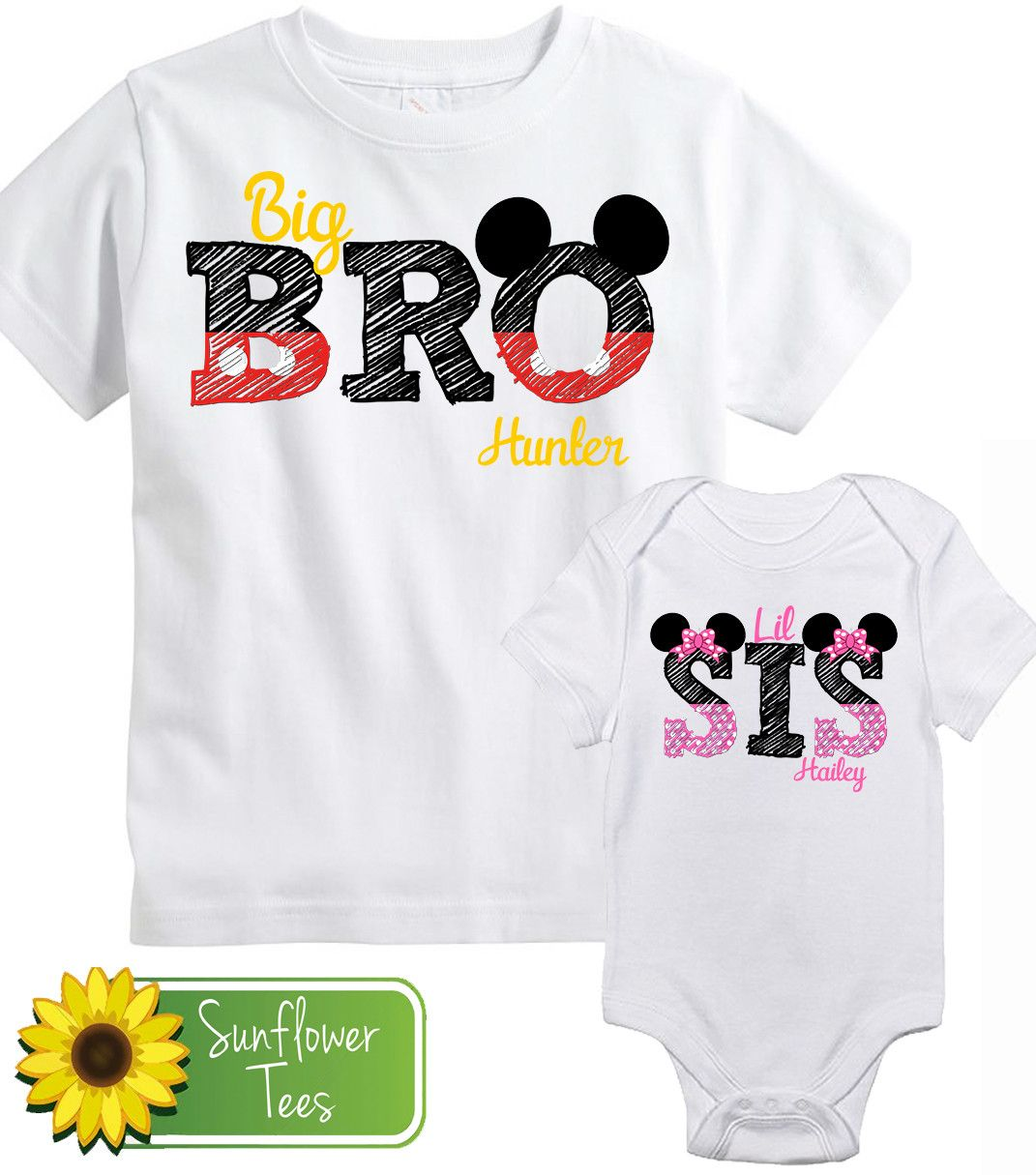 2935cf0dd99 Big Brother Little Sister Mickey Mouse Sibling Shirt Set – Sunflower Tees